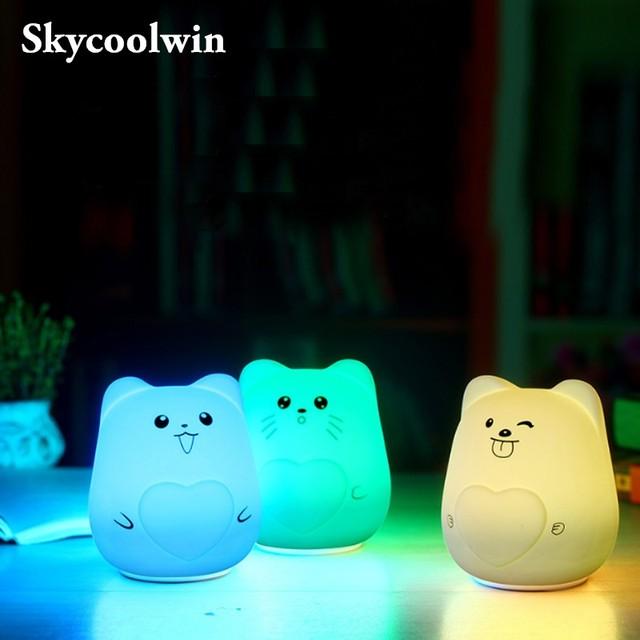 Creative Cute Cat Children Kids Baby Night Light Lamp Multicolor Silicone Soft Nursery Sensitive Tap Control