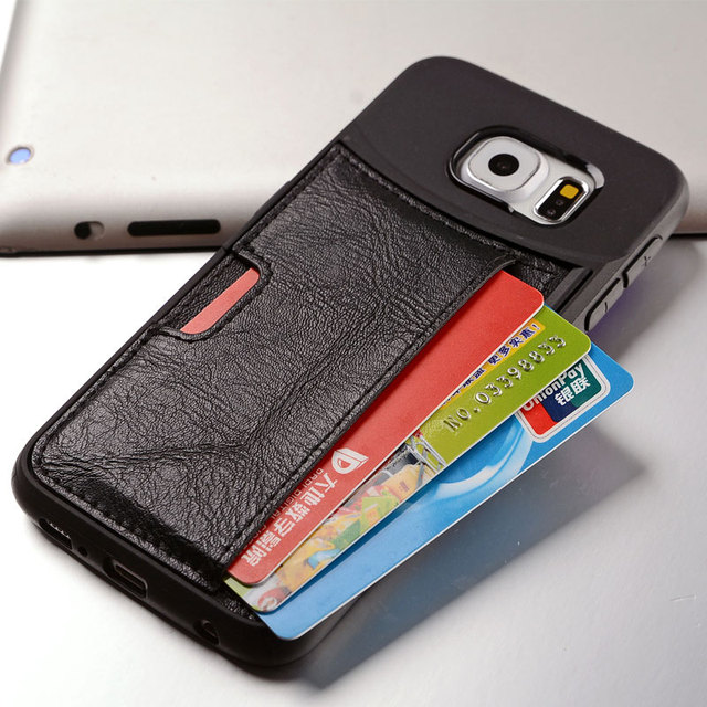 new style 8c59c e316d US $3.99 |Tpu+Leather Vault Slim Wallet Case For Samsung Galaxy S6 S6Edge  S7 S7Edge,Ultra Slim Protective Credit Card Phone Cover Case on ...