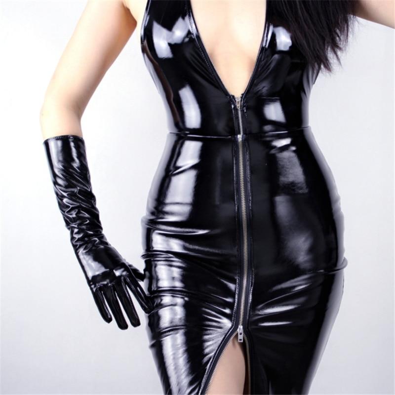 WomenS Patent Leather Gloves Long PU Simulation Bright Mirror Fashion Models 40cm TB77
