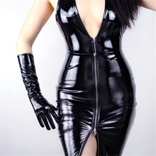 WomenS Patent Leather Gloves Long PU Simulation Bright Mirror Fashion Models 40cm TB77