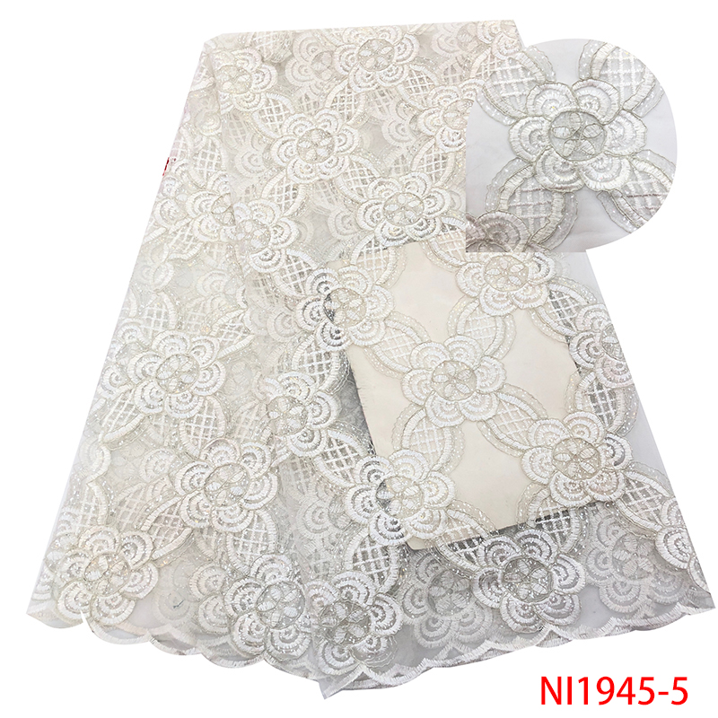 HOT SALE French Net Lace Fabric, High Quality Embroidery Tulle Lace With Sequins,Latest African Lace Fabric For Party KSNI1945-5