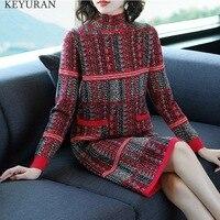 Autumn Winter New Knitting Large Size Loose Sweater Dress Knitted Stylish Print Women Office Work Dresses Elegant Vestidos L2747
