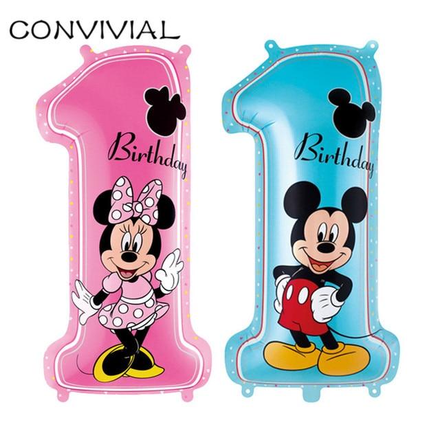 1st Mickey Mouse Mickey Minnie Globo Feliz Fiesta De Cumpleanos