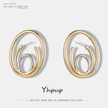 Yhpup Fashion Brand Design Metal Charms Zinc Alloy Geometric Gold Stud Earrings Women Party Jewelry Pendientes Mujer Moda 2018(China)