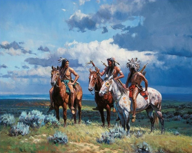 special price oil painting american indians native knight top decor art 36