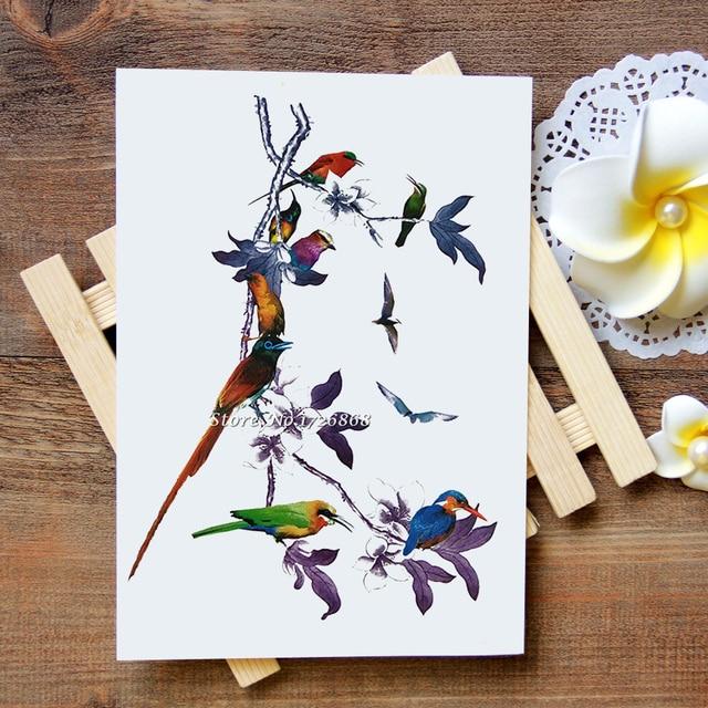 Etanche Tatouages Temporaires Autocollants Chinois Fleur Oiseau Bras