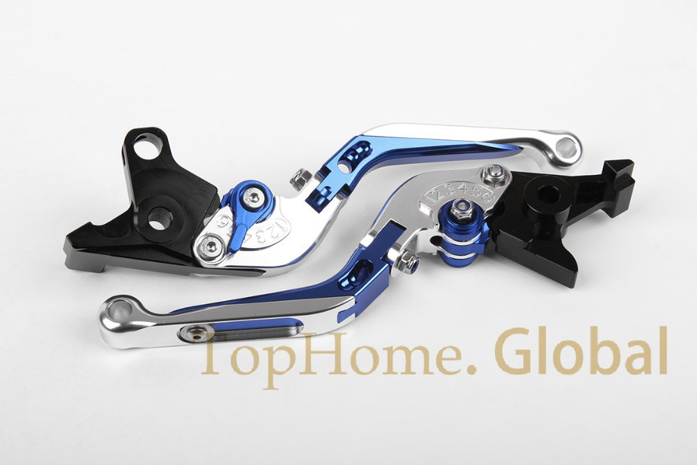 CNC Foldable&Extendable Brake Clutch Levers for YAMAHA FZ1 FAZER /GT 2006-2012  Blue/Silver 2007 2008 2009 2010 2011 aftermarket free shipping motorcycle parts eliminator tidy tail for 2006 2007 2008 fz6 fazer 2007 2008b lack