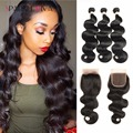 Ali Moda Hair With Closure Unprocessed 8A Brazilian Body Wave With Closure 4 Bundles New Tissage Bresilienne Avec Closure Rosa