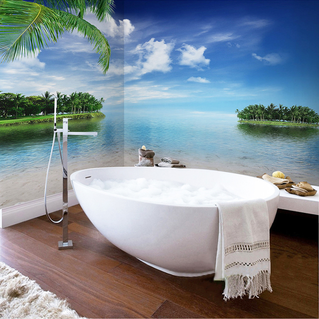 Custom Self adhesive Bathroom Mural Wallpaper Sticker Blue