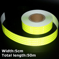 50m*5cm High Intensity Reflective Strips Stickers for Car Styling Truck Motorcycle Decoration Green Safety Warning Adhesive Tape