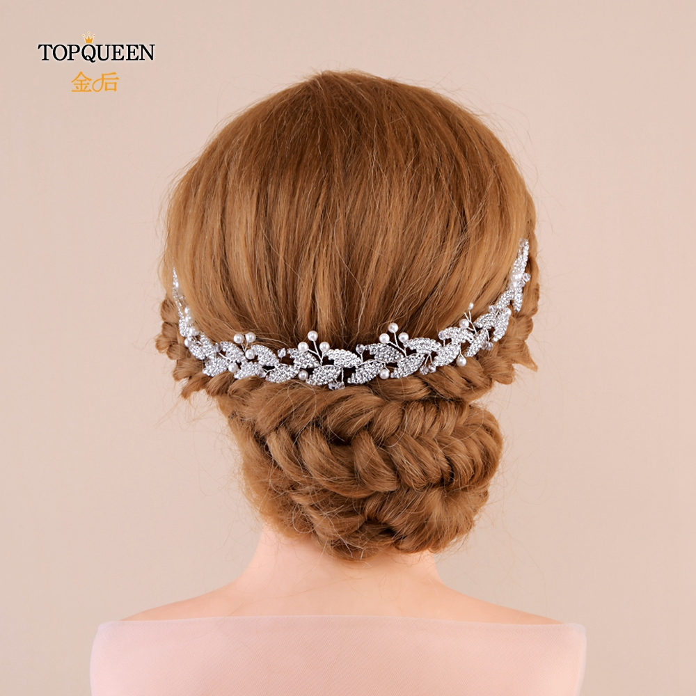 TOPQUEEN Wedding Bridal Hair Comb  Bridal Hair Jewelry Silver Bridal Hair Clips Pins For Girlfriend Pearl Diamond Comb HP251