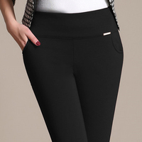 Pantalones Mujer 2016 Women Office Work Pants Stretch Cotton Pencil Pants Plus Size Black Blue White