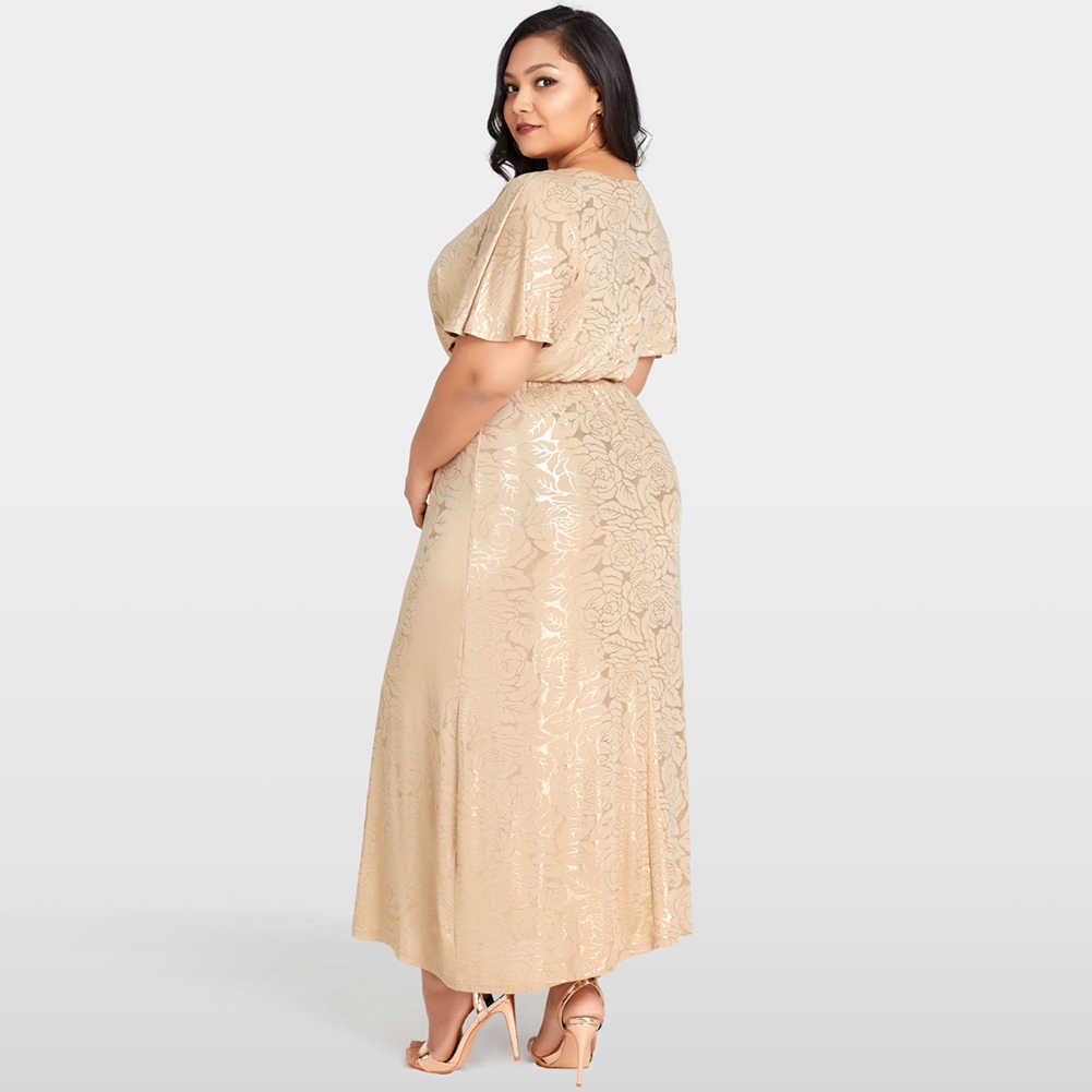 Romacci Long Summer Champagne Dress Women Shining Rose Floral Print Plus  Size Dress Gold Cape Sleeves Evening Party Maxi Dress