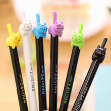 48pcs/lot Korean cute cartoon creative stationery animal cat tail Kawai candy colour gel pen unisex 0.5mm black ink