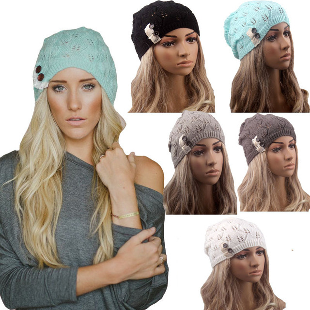 Retail Fashion winter hat Knitted Beanie Crochet Hat Boho Cap Lace Trim  Beanie Beret Skull Cap 21baa3622b7