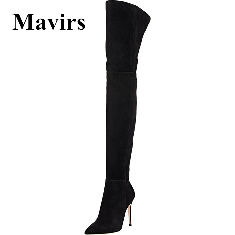 Mavirs Brand Black Over the Knee Boots 2018 Winter Pointed Toe 10CM High Heels Thigh-High Stretch Suede Stilettos Shoes US 5-15 mavirs brand women ankle boots 2018 pointed toe matt 4 75 inches chunky high heels black gray gold white shoes us size 5 15