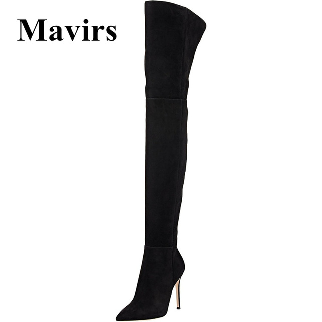 23021b002 Mavirs Brand Black Over the Knee Boots 2018 Winter Pointed Toe 10CM High  Heels Thigh-High Stretch Suede Stilettos Shoes US 5-15