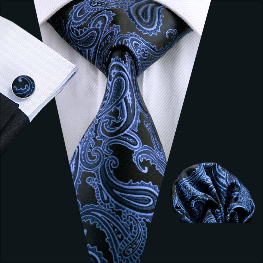 FA-981 Barry.Wang Mens Ties Blue Paisley Silk Jacquard Tie Hanky Cufflinks Set Men's Business Gift Ties For Men Free Shipping