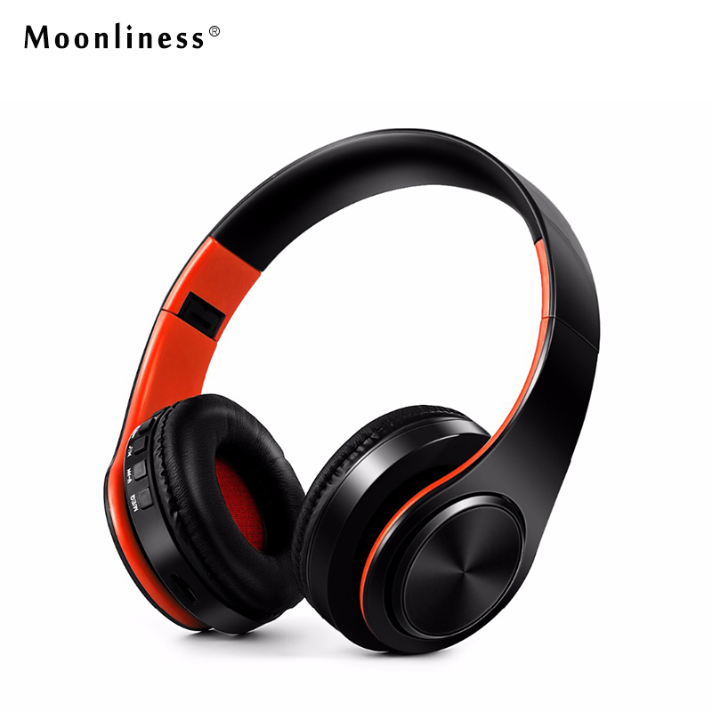 Moonliness Bluetooth Headphones Wireless Headsets Stereo Foldable Earphones with Fm Headset music Mic for Handfree Mp3 Player lexin 2pcs max2 motorcycle bluetooth helmet intercommunicador wireless bt moto waterproof interphone intercom headsets