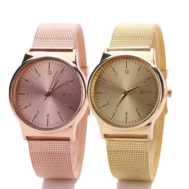 Geneva Watch Womens Rose Gold Watches Reloj Mujer Clock Simple Bracelet watch Mesh Stainless Steel WristWatch Relogio Feminino