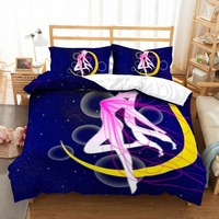 MUSOLEI 3D Bedding Set Sailor Moon Soft Bed Duvet Cover Set Twin Queen King Size