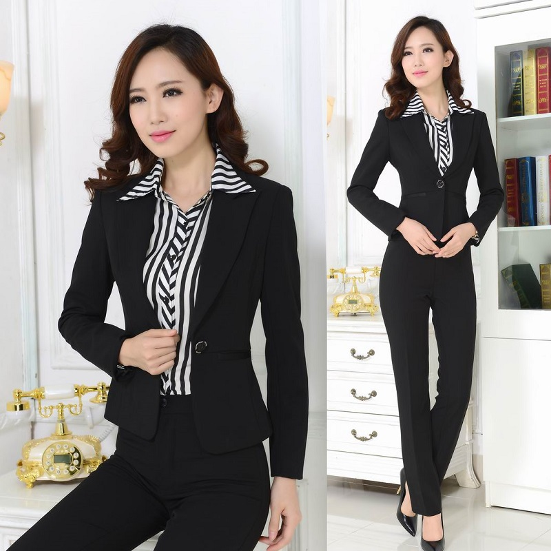 New 2015 autumn formal office uniform designs women blazer for Office uniform design 2015