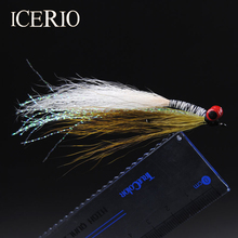 ICERIO 10PCS Saltwater Fly Fishing Flies (Trout,Bonefish,Redfish) Clouser Deep Minnow Fishing Lures Olive/White #4