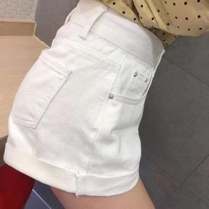 Image 3 - Basic Cuffed Cotton Denim Shorts Women High Waist Washed Essential Jeans Shorts S M L XL