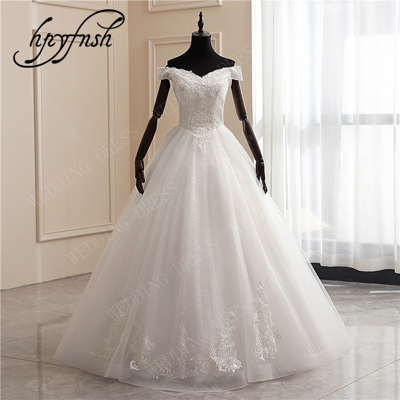New Fashion Luxury Beading Lace Embroidery Appliques Elegant Wedding Dress Boat Neck Off Shoulder Plus Size Vestido De Noiva 6