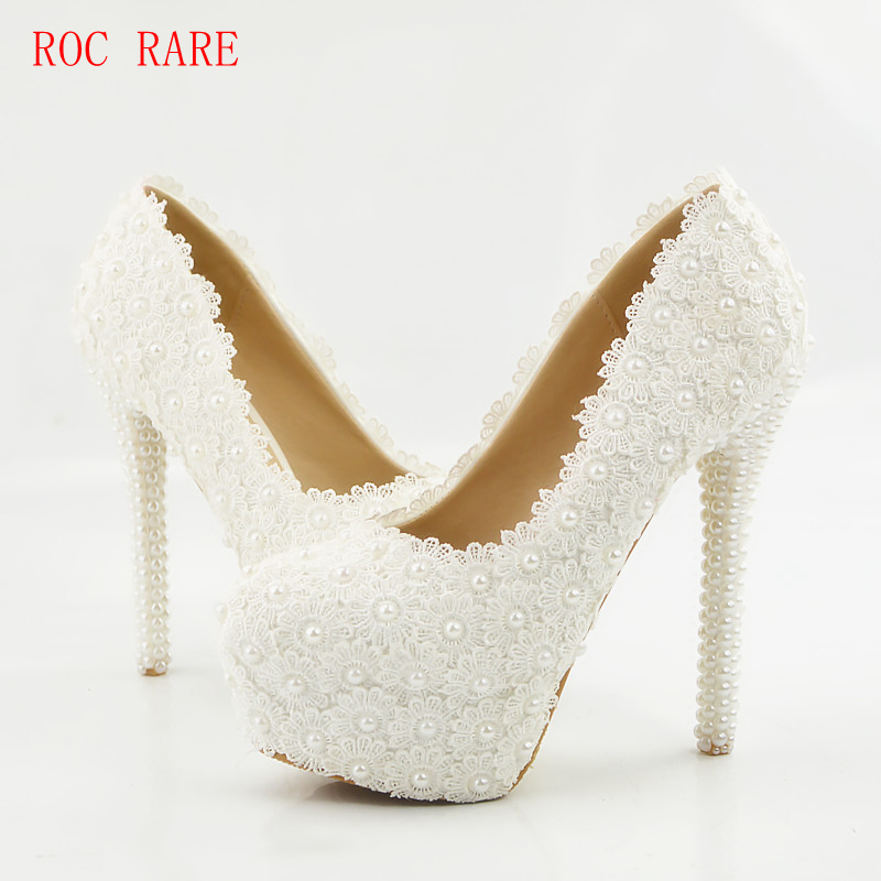 ROC RARE Pure Handmade White Lace Pearls Women Wedding Shoes Slip On Bridal Shoes Women Pumps elegant white lace wedding shoes high heel bridal shoes pumps stilettos ladies slip on women pumps shoes actual photo 2016 new