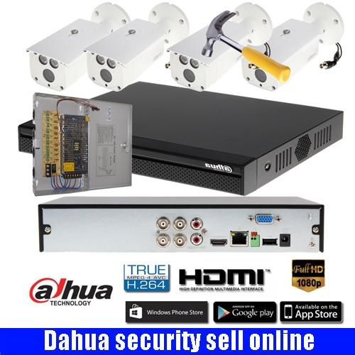 Dahua  4Ch HD 1080P  IR CVI DVR Camera Kit Outdoor CCTV System 4PCS Bullet IR 50M Vandal-proof bullet camera  DH-HAC-HFW1200D