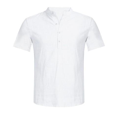 Shirts 2019 Linen Shirts Men Stand Collar V-neck Shirt Fashion Hawaiian Shirts Chemise Homme Men Clothes Camisa Masculina Islamabad