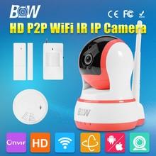 720 P HD Cámara IP P2P Giratoria Inteligente de Seguridad CCTV Inalámbrica wifi audio recorder infrarrojos motion & puerta + sensor de humo Detector