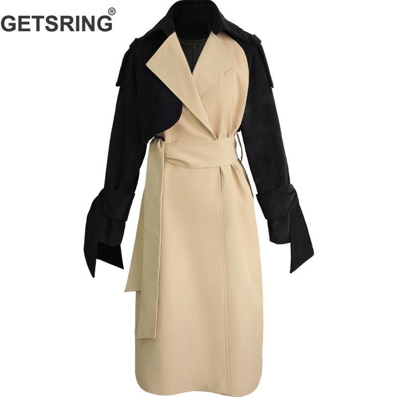 GETSRING Woman TrenchIrregular Color Matching Bandage Female Overcoat Asymmetry Leisure Womens   Trench   Coats 2019 New Fashion