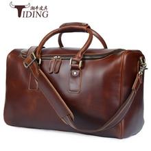 کیف های سفر مردانه 2018 چند منظوره مردان 100٪ کیف های چرمی سفر واقعی کیف دستی شانه ظرفیت بزرگ کیف دستی مردان
