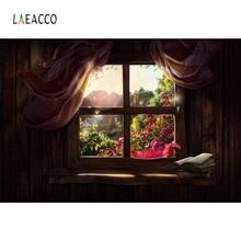 лучшая цена Laeacco Curtains Wooden Window Flowers Photo Backgrounds Customized Digital Photography Backdrops For Photo Studio
