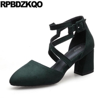 Strappy Modern Ladies Sexy Ankle Strap Sandals Plus Size Green 10 42 Pointed Toe Women Pumps Cross Block High Heels 11 43 New