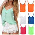 New Women Sexy Spaghetti Strap Tank with Pleating Buttons Adjustable straps V-Neck candy color Tops Tank Sleeveless E1409