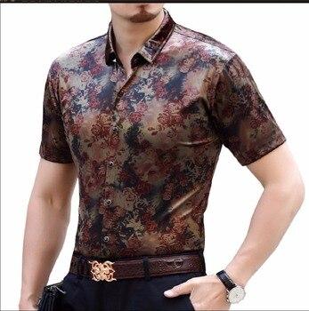 S-4xl Hot Men's Summer New Silk Short Sleeve Shirt Casual Gold Velvet Slim Silk Shirt Business Printing Shirts Hairstylist Top