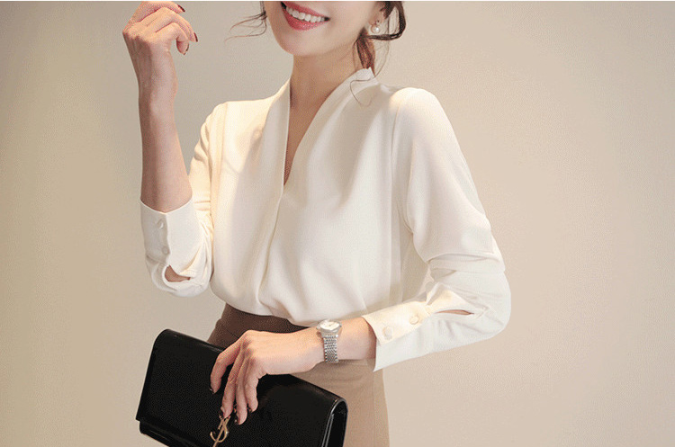 women shirts long sleeve solid white chiffon office blouse women clothes womens tops and blouses blusas mujer de moda 2020 A403