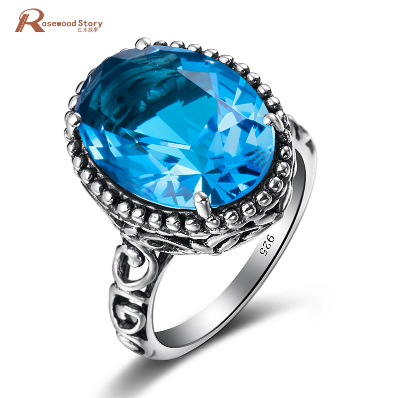 Women Moonlight Blue Crystal Ring 925 Sterling Sliver Jewelry Female Vintage Rings Romantic Anniversary Fashion Jewelry Gift