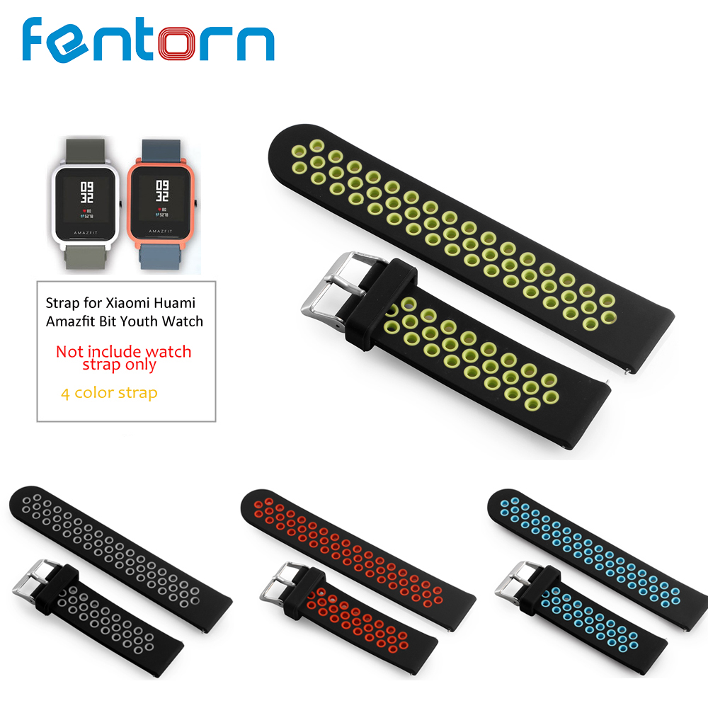 Fentorn Replace Watch Strap for Amazfit Youth Dual Silicone Straps for Original Xiaomi Huami Bip BIT PACE Lite Youth Smart Watch hangrui replacement watch strap for xiaomi huawei bip bit pace lite youth smart watch band accessories for huami amazfit youth