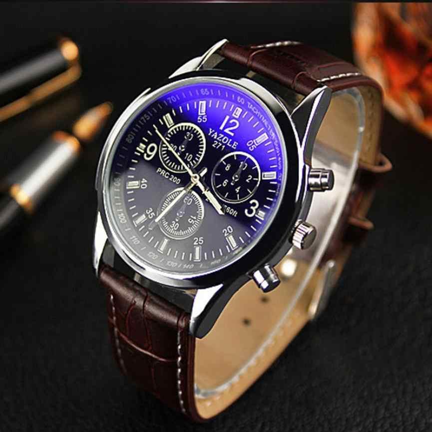 ファッションフェイクレザーメンズアナログクォーツ腕時計ブルーレイ男性腕時計 2019 メンズ腕時計トップブランドの高級カジュアル腕時計時計