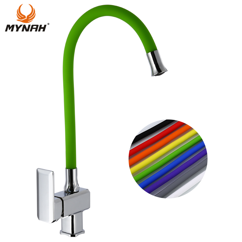 MYNAH Silica Gel Any Direction Kitchen Faucet Hot And Cold Water Flexible Kitchen Tap Multicolor Rotary