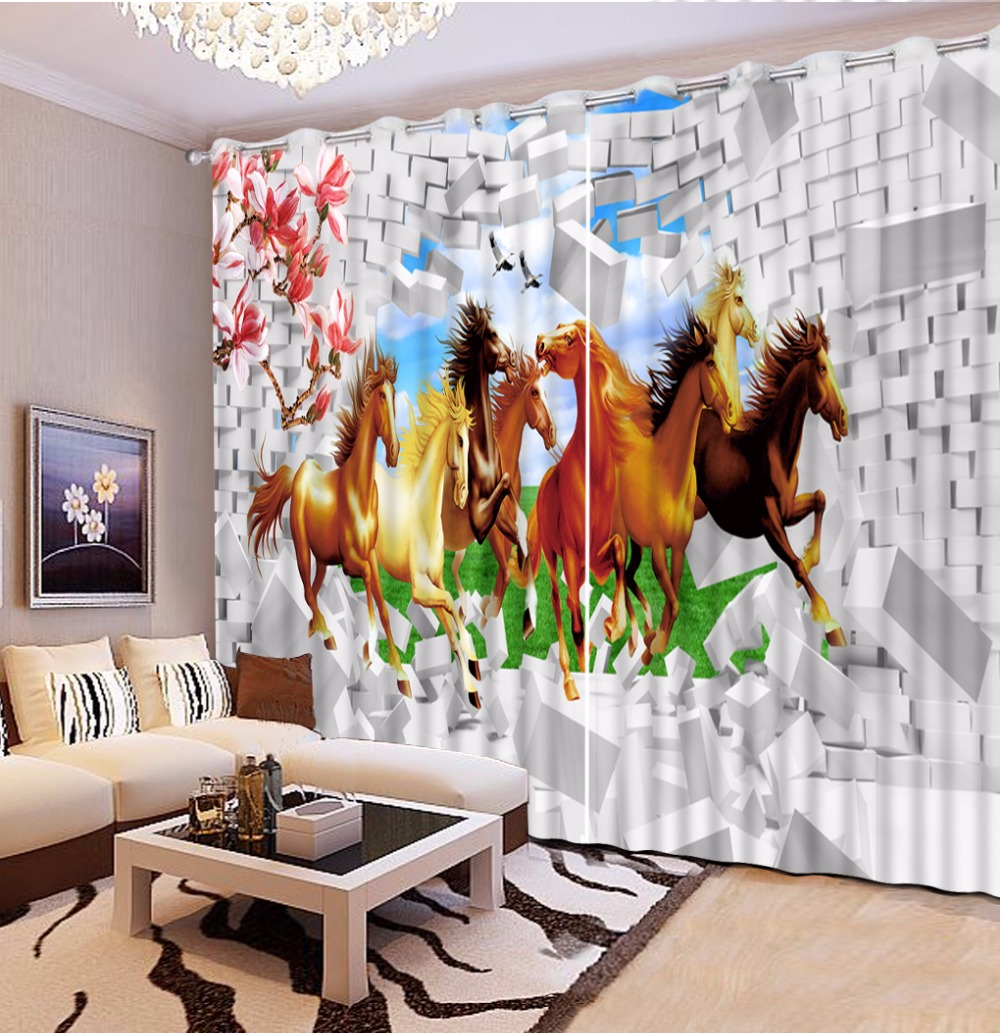 Horse Curtains For Bedroom.Us 51 6 57 Off Chinese Decoration 3d Cortina Horse Curtains For Living Room Bedroom Home Goods Window Curtain In Curtains From Home Garden On