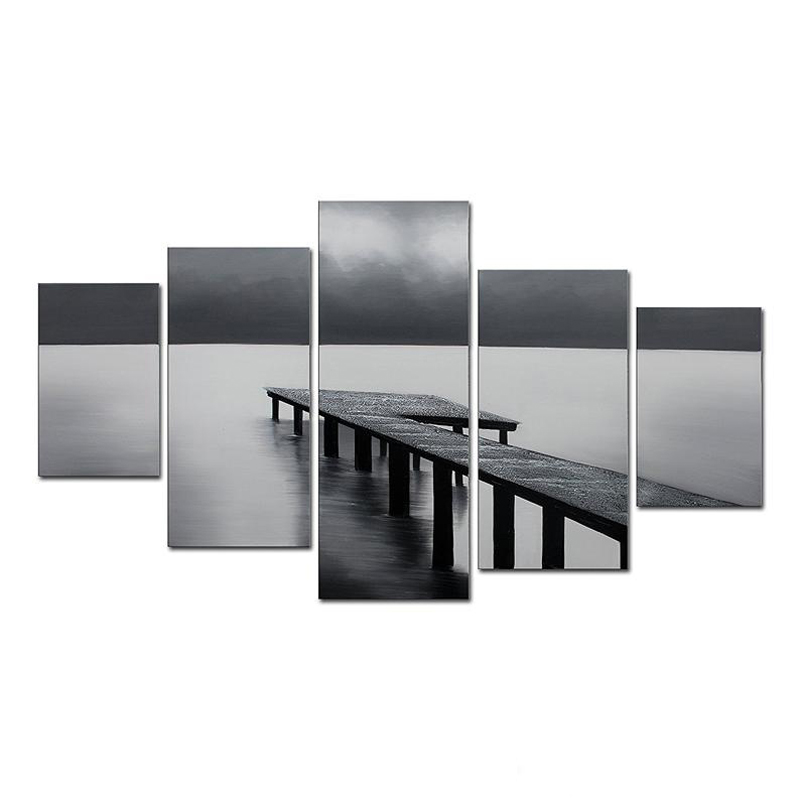 Art Black Friday Sale 2016 Hand Painted Abstract Oil Paintings Black Bridge On The Seaside Under Cloudy Sky 5 Panels Wood Framed