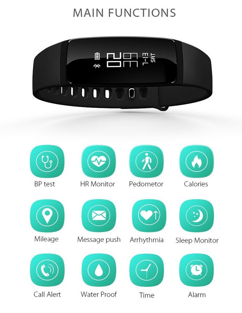 V07 Smart Bracelet Blood Pressure Heart Rate Monitor Bluetooth Sports Bracelet