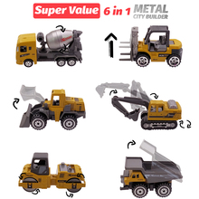 6 Metal Diecast Toy Vehicles Alloy Toy Car Toy model 1:64 Roller Dump Truck Excavator Bulldozer Tanker Forklift Tractor Toy Set