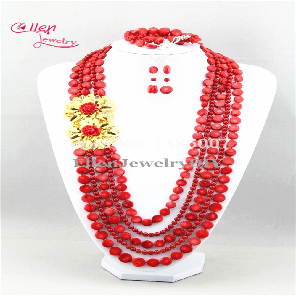New Chic Long Red Coral Jewelry Set Nigerian Coral Necklace Wedding ...