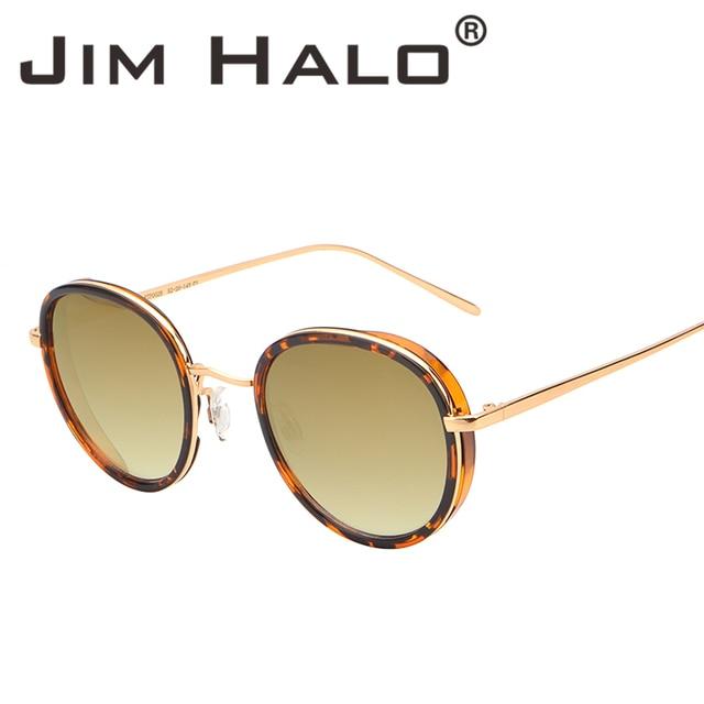 206dfbdaf65 Jim Halo Vintage Round Mirrored Sunglasses Women Men Retro Leopard Metal  Frame Gradient Brown Lens Sun Glasses Steampunk Fashion